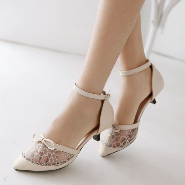 Women's Nude Lace Stiletto Heels Dress Shoes Ankle Strap Pumps with Bow image 1