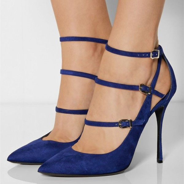 Navy Suede Three Strap Pointy Toe Stiletto Heels Pumps with Buckles image 1