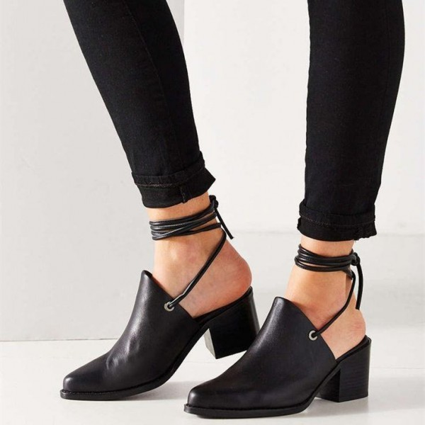 Black Pointy Toe Block Heels Ankle Wrap Strappy Summer Boots image 1