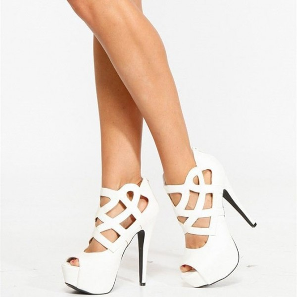 White Laser Cut Platform Heels Peep Toe High Heel Shoes US Size 3-15 image 1