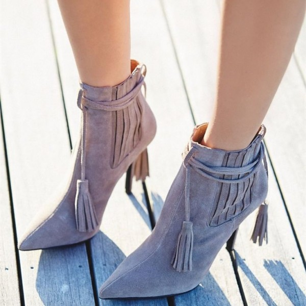 Grey Fashion Boots Suede Stiletto Heels Pointy Toe Tassels Ankle Boots image 1