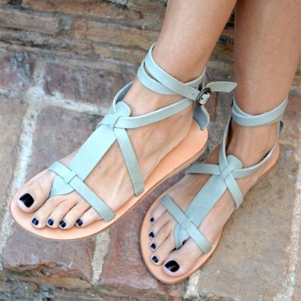Light Blue Summer Sandals Open Toe Comfortable Flats image 1