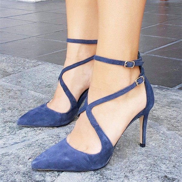 Women's Royal Blue Suede Dress Shoes Pointy Toe Stiletto Heels Pumps image 1