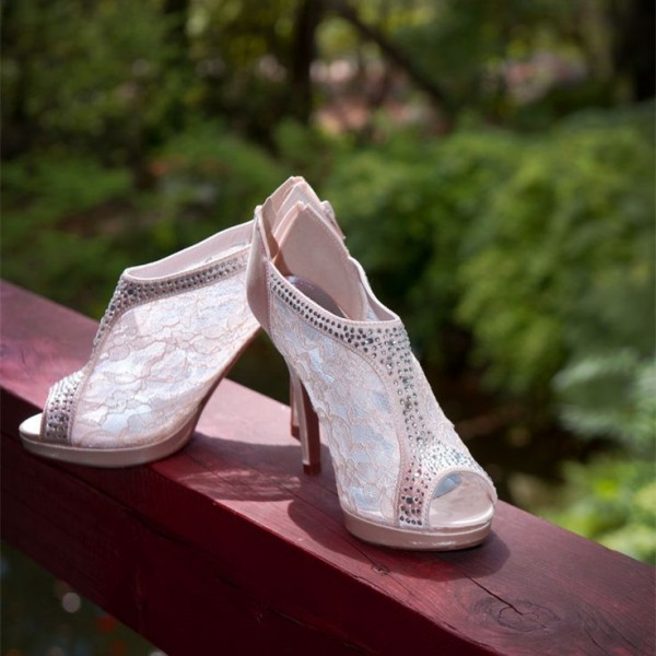 Ivory Satin Bridal Shoes Peep Toe Rhinestone Lace Ankle