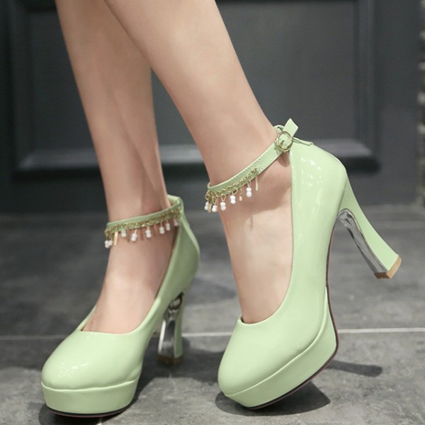 Women's Cyan Almond Toe Chunky Heels Platform Ankle Strap Pumps For Prom image 1