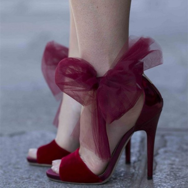Burgundy Velvet Heels Ankle Bow Sandals for Prom image 1