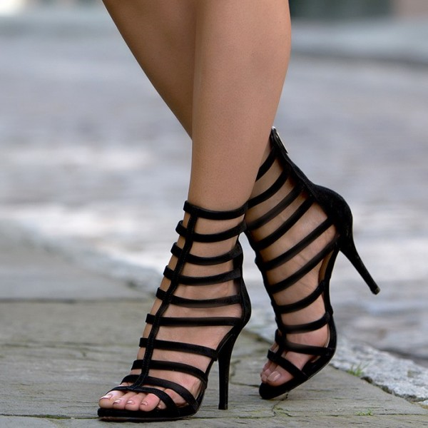 6a2acf2779 Women's Lelia Black Stiletto Heels Open Toe Strappy Gladiator Sandals image  ...