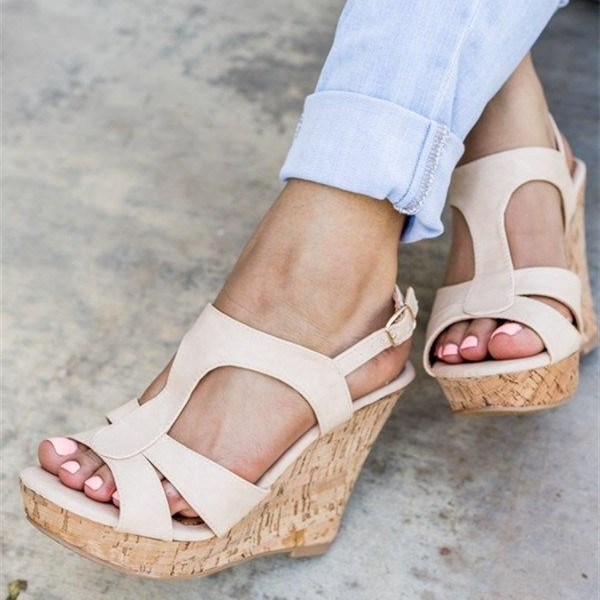 official site affordable price meet Beige Cork Wedges T Strap Open Toe Suede Platform Sandals