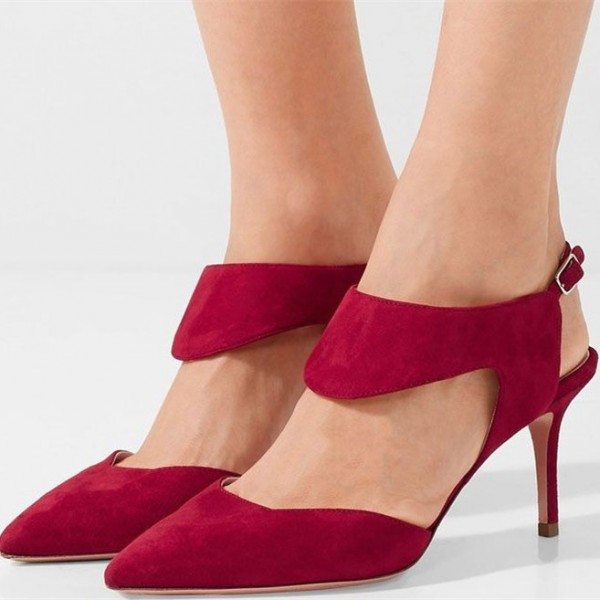 Women's Burgundy Suede Stiletto Heels Pointy Toe Ankle Strap Pumps image 1