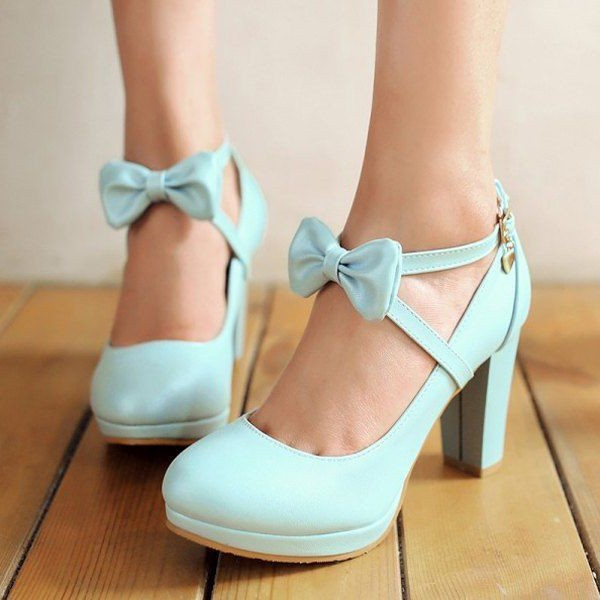 Women's Cyan Round Toe Chunky Heels Cross-over Strap Pumps with Bow image 1