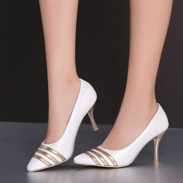 Women's White and Gold Dress Shoes Stiletto Heels Pumps Evening Shoes for Cocktail Party image 1