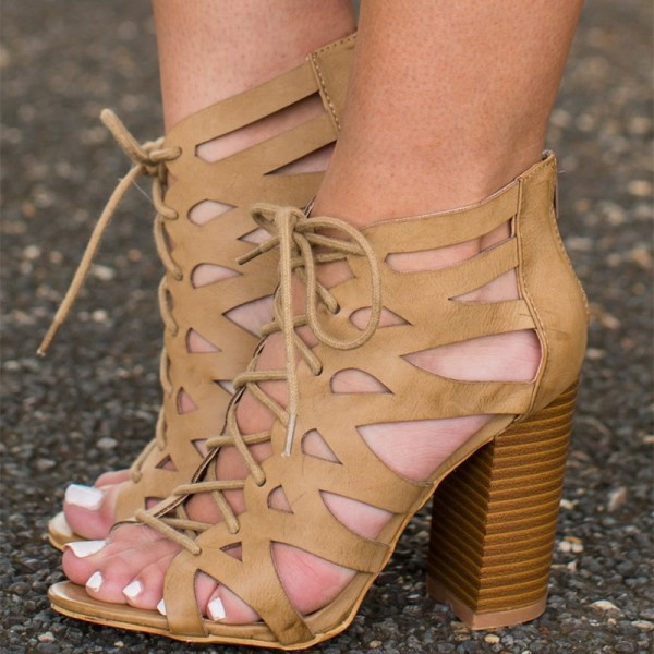 Khaki Lace up Sandals Open Toe Chunky Heels for Women  image 1