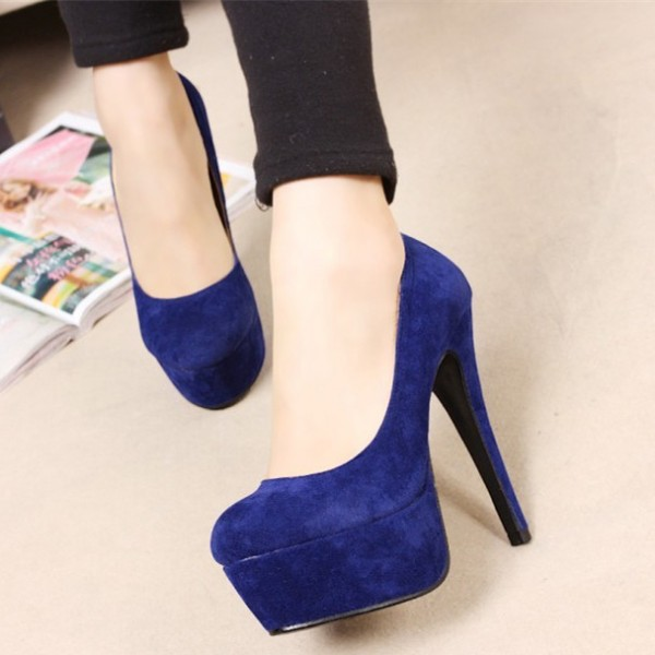 Women's Royal Blue Suede Stiletto Heels Platform Pumps For Prom image 1