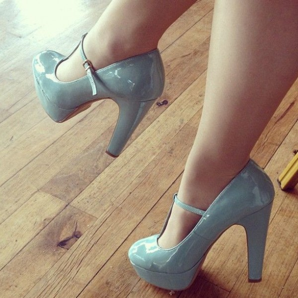 Light Blue T Strap Pumps Patent Leather Chunky Heels  image 1