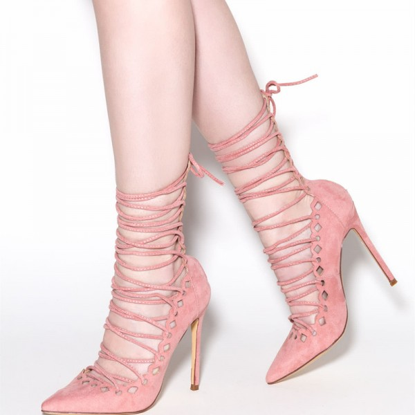 59b261cf97ef Light Pink Strappy Heels Pointy Toe Lace up Suede Pumps for Big day ...