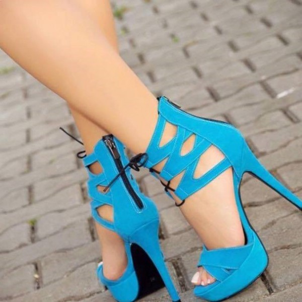 Women's Blue Platform Stiletto Heels Dress Shoes Peep Toe Strappy Sandals image 1