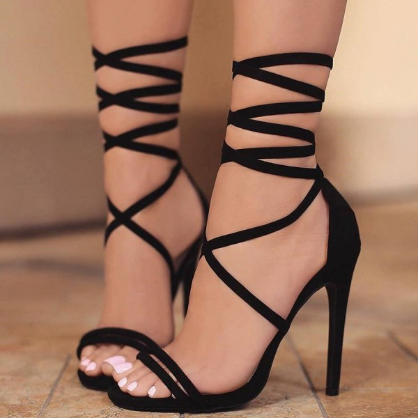 61ad57e7131a Women s Lelia Black Stiletto Heels Open Toe Lace Up Strappy Sandals image  ...
