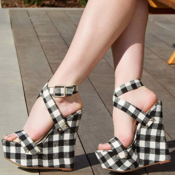 Women's Black and White Plaid Ankle Strap Sandals Wedge Heels image 1