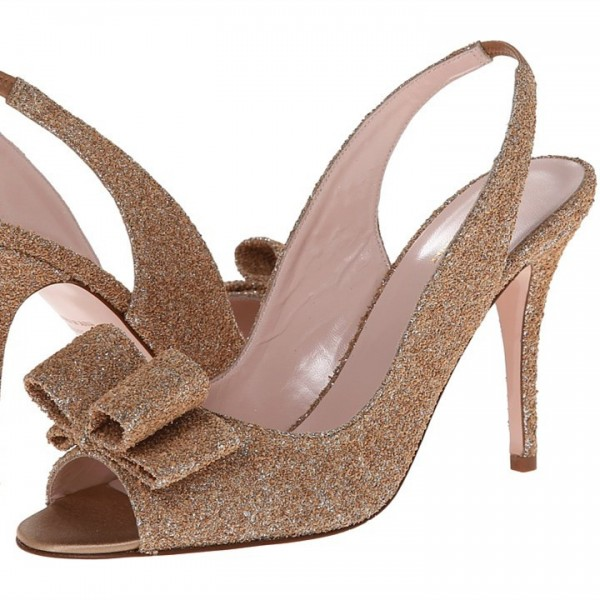 Gold Slingback Heels Sequined Sandals Stiletto Heels image 1