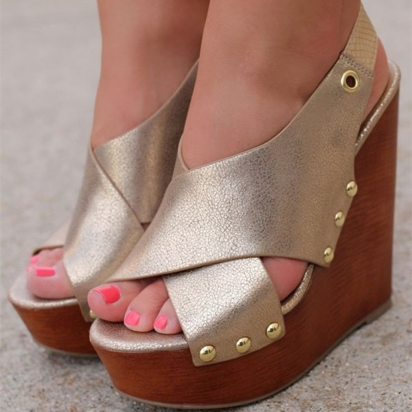 Golden Wedge Sandals Rivets Open Toe Platform Shoes image 1