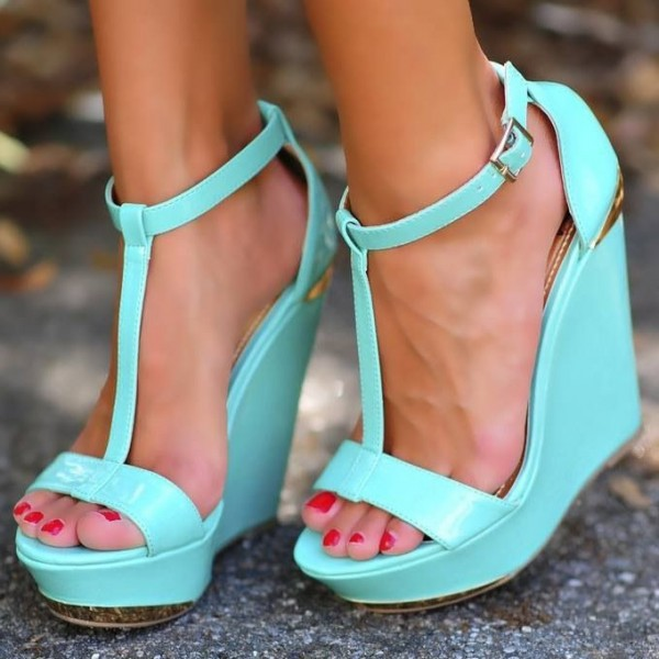 Blue T Strap Buckle Sandals Open Toe Platform Stiletto Heels image 1