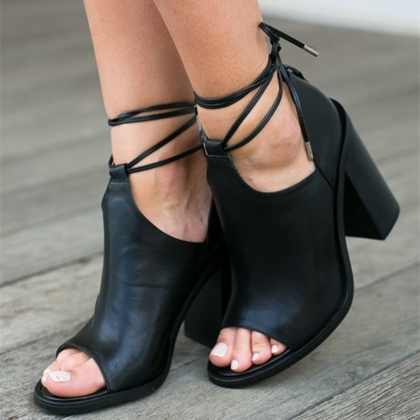 Black Cut Out Boots Open Toe Chunky Heel Strappy Ankle Boots image 2
