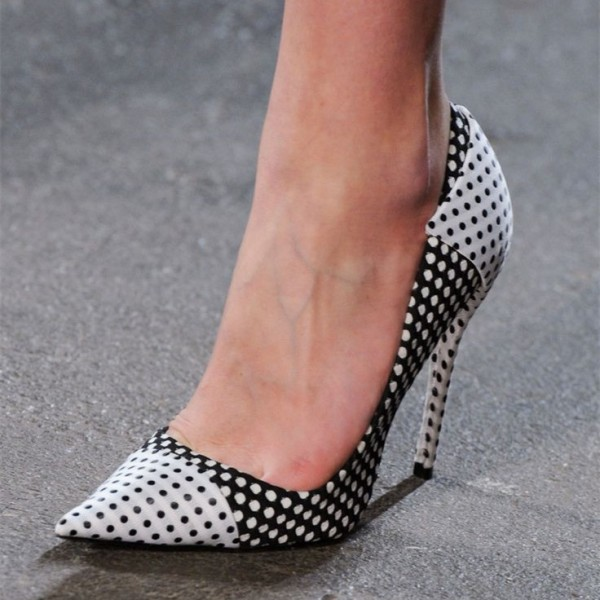 Black And White Heels Polka Dots Pointy Toe Stiletto Heel