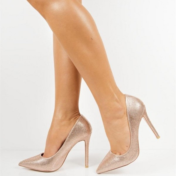 Champagne Evening Shoes Sparkly Pointed Toe Stiletto Heel Pumps image 1