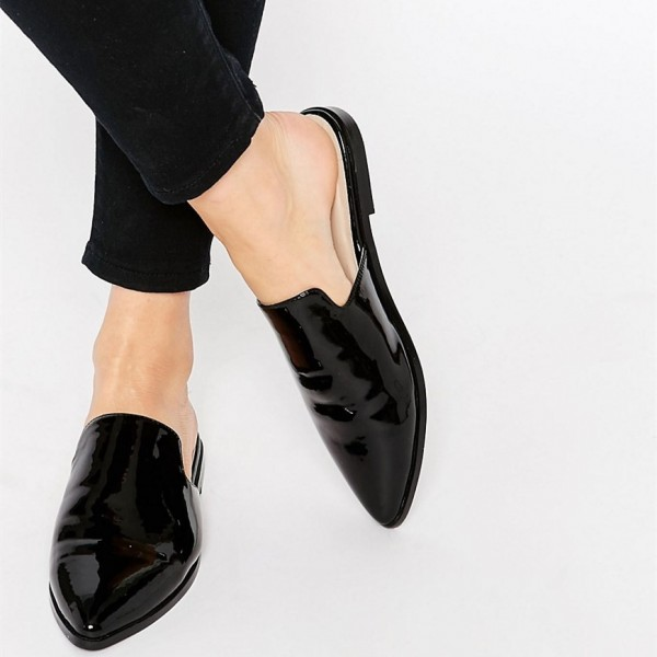Black Patent Leather Loafer Mules Pointy Toe Office Flats for Women image 1