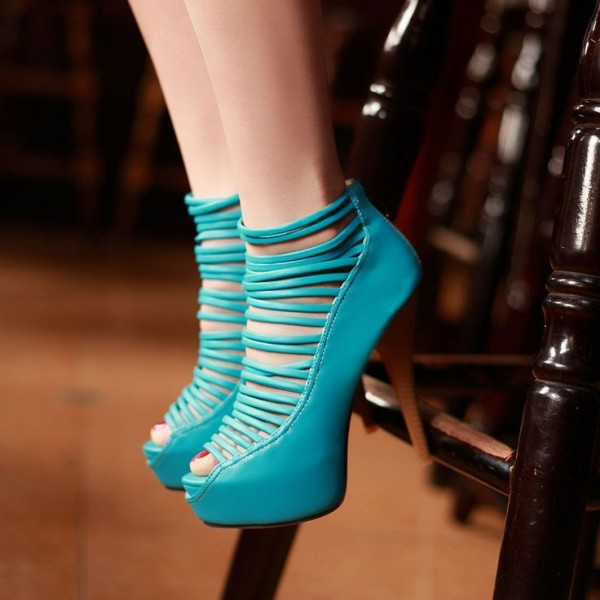 Teal Shoes Peep Toe Strappy Summer Booties with Platform image 1