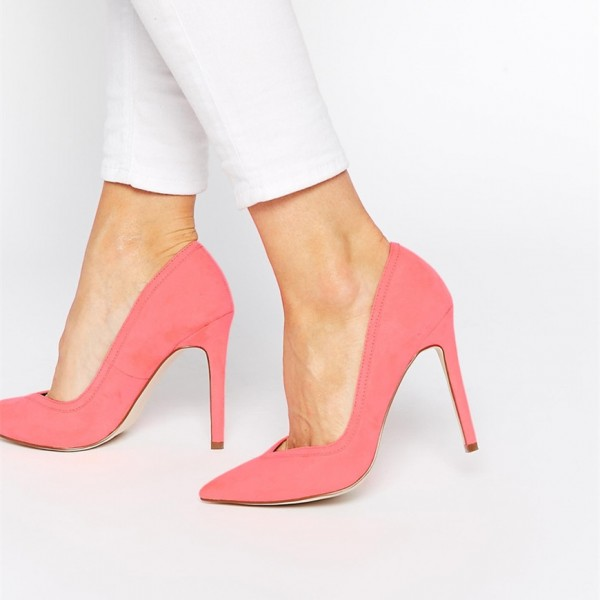 Women's Pink Stiletto Heels Pumps for Office Lady image 1