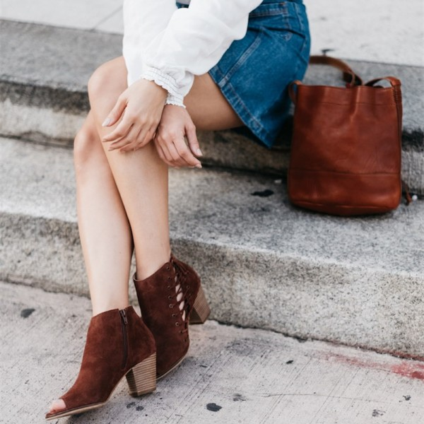 Brown Suede Boots Peep Toe Side Lace up Block Heel Ankle Boots image 1