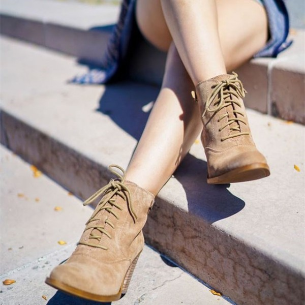 Khaki Vintage Boots Lace up Chunky Heel Ankle Booties for Women image 1