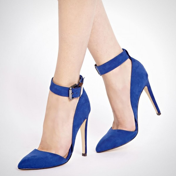 Cobalt Blue Shoes Ankle Strap Suede Stiletto Heel Pumps image 1