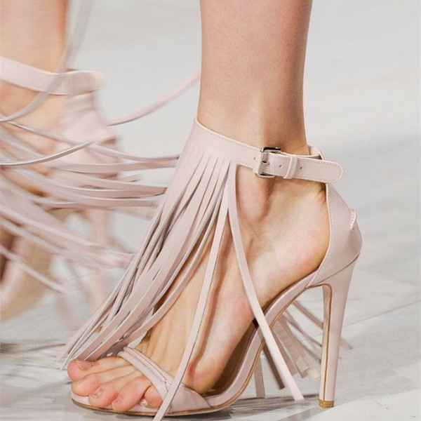 Women's Nude Ankle Strap Rring Sandals Open Toe Stietto Heels image 1