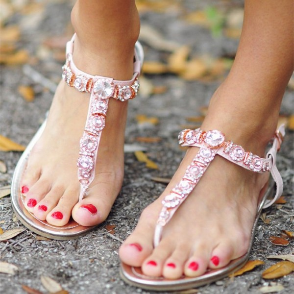 Pink Rhinestone Thong Sandals Flat Summer Beach Sandals US Size 3-15 image 1