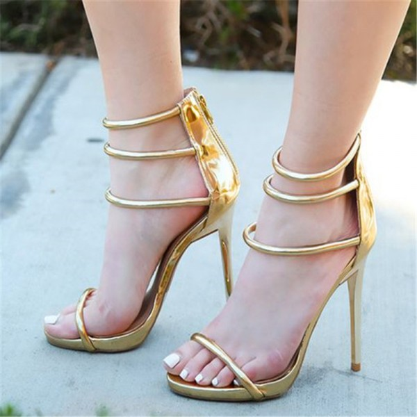 Women's Golden  Strappy Heels Stiletto Heels Sandals image 1
