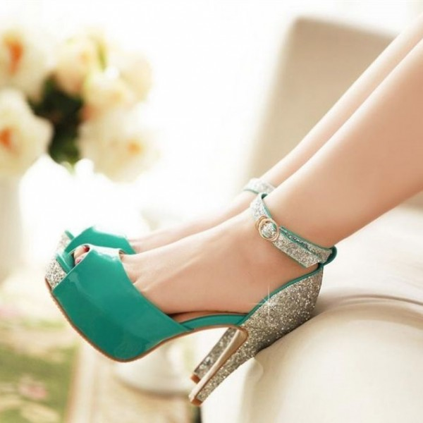 Women's Turquoise Ankle Strap Heels Peep Toe Glitter Platform Pumps image 1