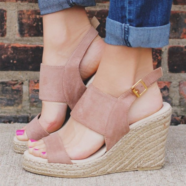 Blush Suede Wedge Sandals Open Toe Slingback Shoes image 1