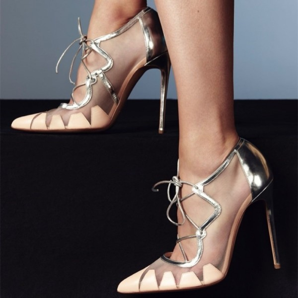 f1189ba2403 Nude and Silver Lace up Heels Pointy Toe Stiletto Heel Pumps