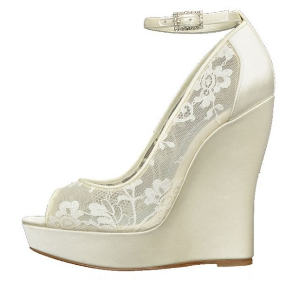 Ivory Wedding Shoes Lace Peep Toe Ankle Strap Wedge Pumps image 1