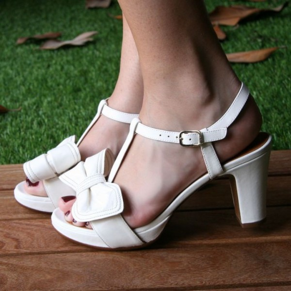White Chunky Heels  Agraffe T-strap Sandals image 1
