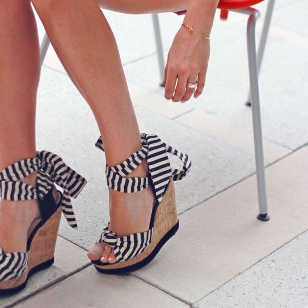 Black and White Stripes Cork Wedges Open Toe Platform Strappy Sandals image 1