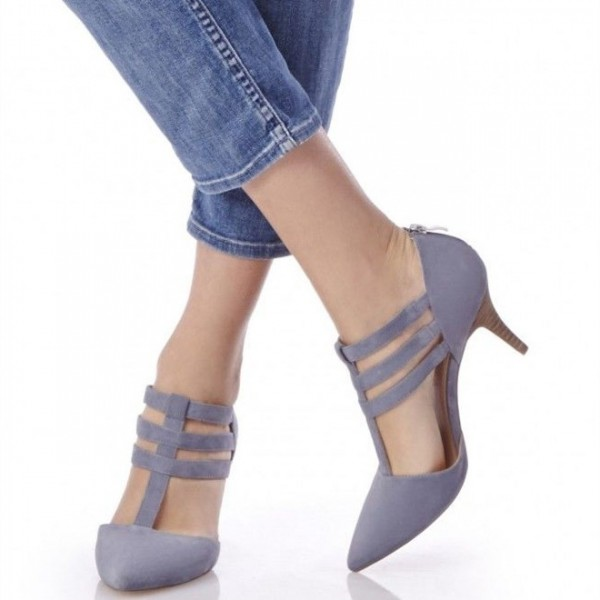 Light Purple T Strap Sandals Closed Toe Stiletto Heels image 1