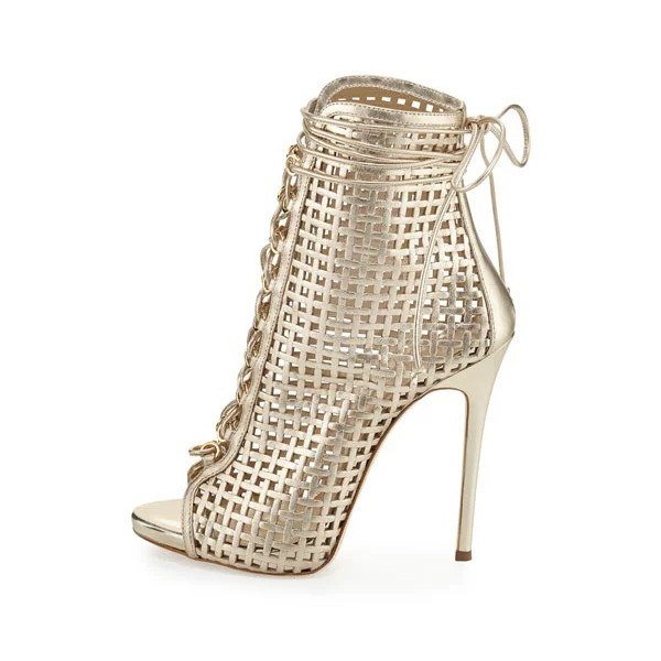 Golden Lace up Heels Peep Toe Cage Sandals Stiletto Heels image 2