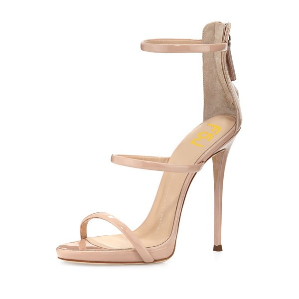 Nude Vegan Patent Leather Office Sandals Open Toe Stiletto Heels image 1