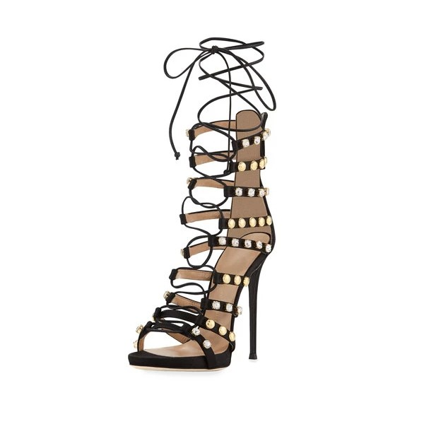 Black Strappy Sandals Lace up Rhinestone Stiletto Heels image 1