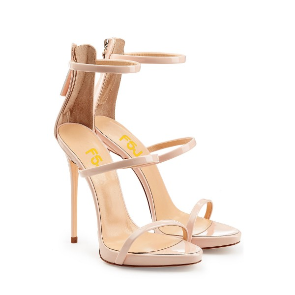 Nude Vegan Patent Leather Office Sandals Open Toe Stiletto Heels image 4