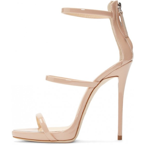 Nude Vegan Patent Leather Office Sandals Open Toe Stiletto Heels image 3