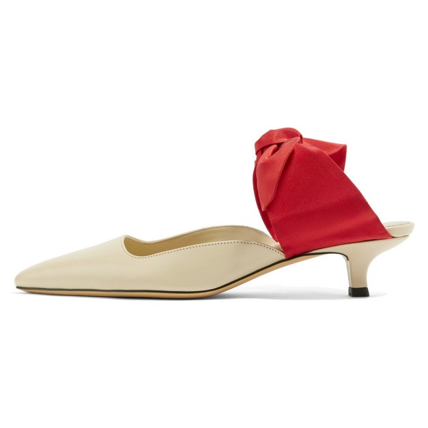 Nude and Red Bow Pointy Toe Kitten Heel Mules image 2